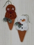 Frozen Treat Ornaments Double Dip Gingerbread and Snowman