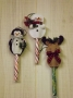 Peppermint Stick Ornaments II - Snowman, Penguin & Moose