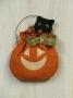 Pumpkin & Cat Mini Wall hanging w/hanger