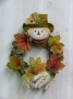 Scarecrow Wreath with Fall Leaves